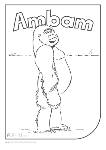 Thumbnail image for the Ambam gorilla colouring in picture activity.