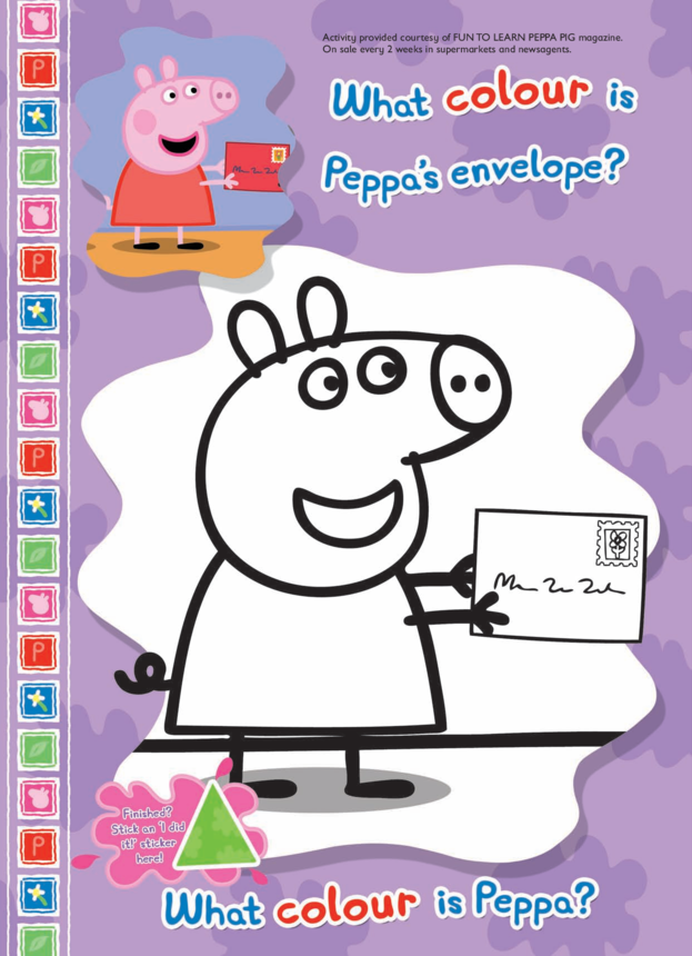 Peppa's Envelope Colouring in picture