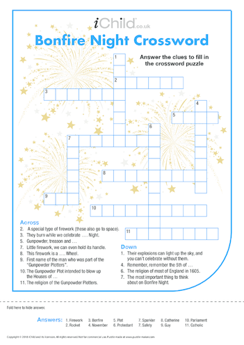 Thumbnail image for the Bonfire Night Crossword activity.