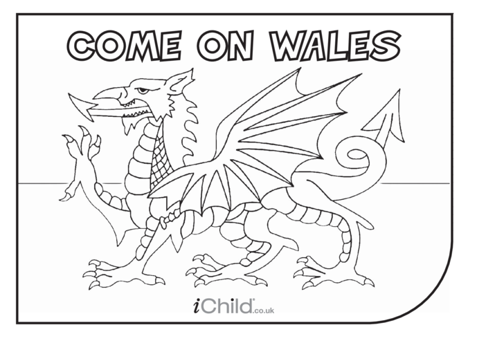 Thumbnail image for the Come on Wales! Colouring in Picture activity.