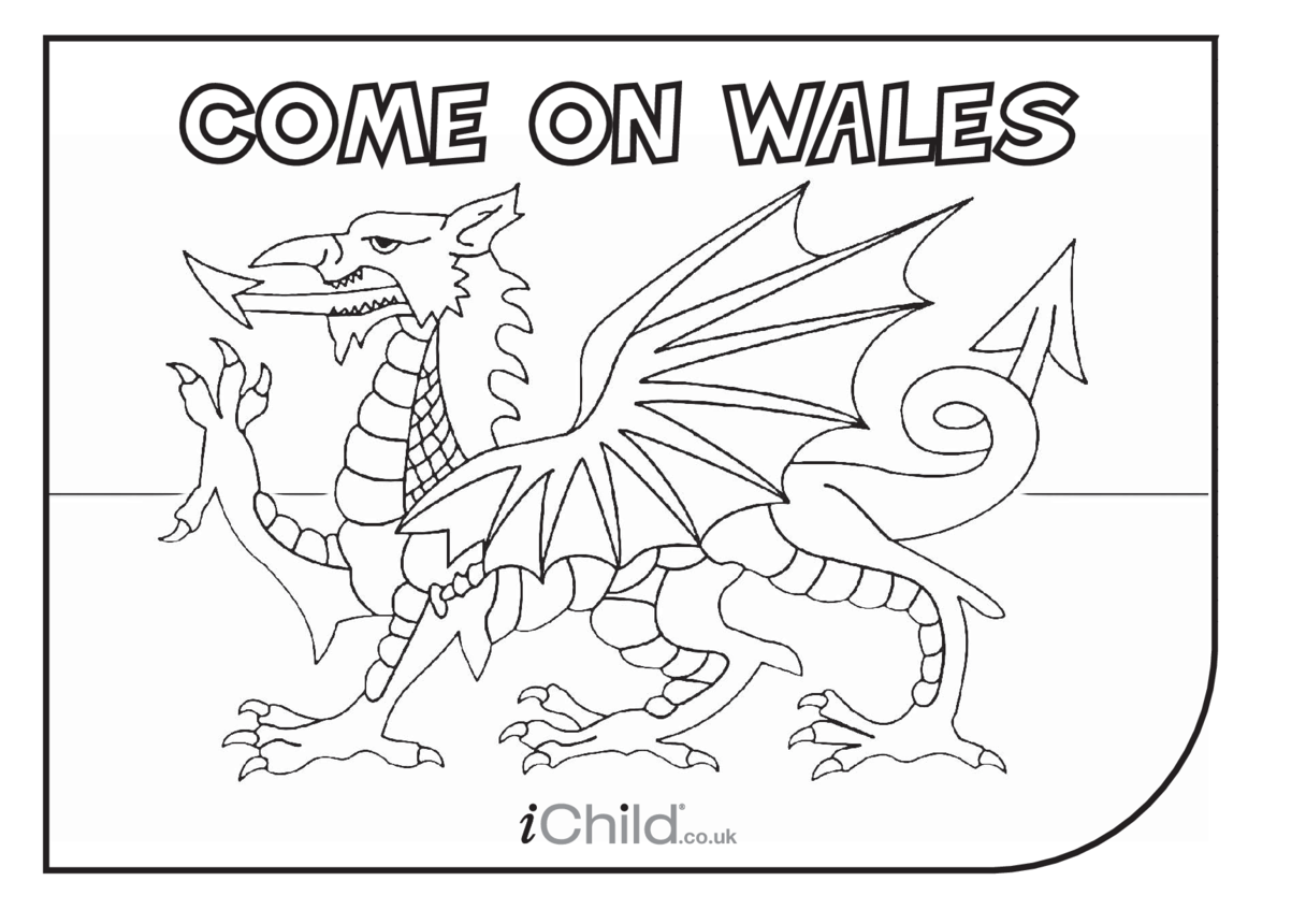 Come on Wales! Colouring in Picture