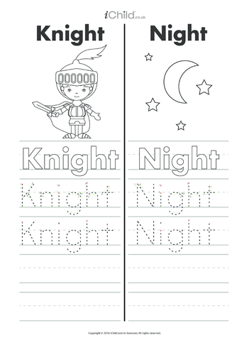 Thumbnail image for the Knight & Night Writing Practice Sheet activity.