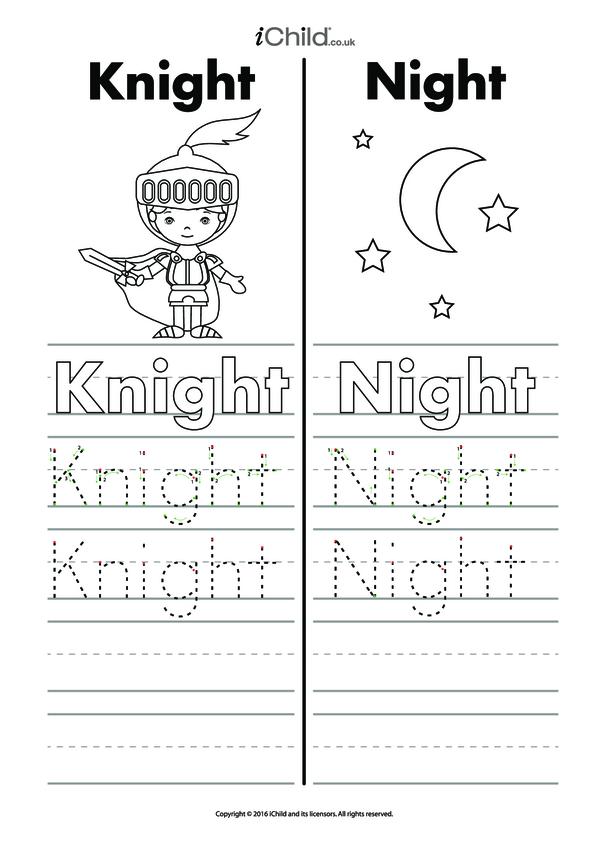 Knight & Night Writing Practice Sheet