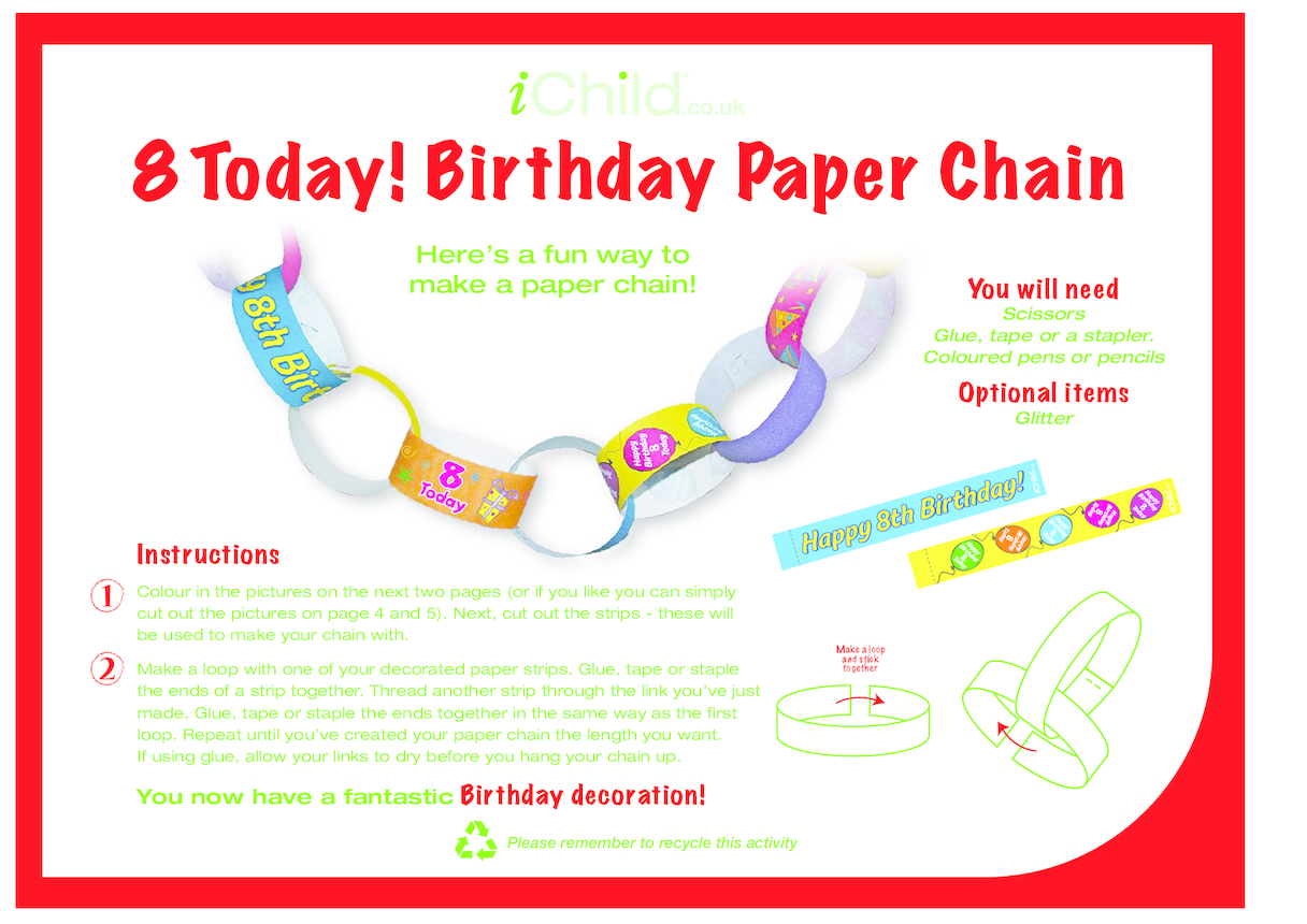 Birthday Party Decoration Paper Chain for 8 year old 8th birthday
