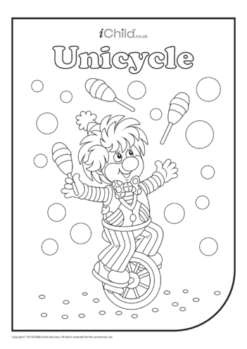 Thumbnail image for the Unicycle (& Juggler!) Colouring in Picture activity.