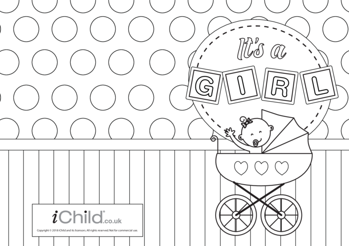 Thumbnail image for the It's a Girl! New Baby Card activity.