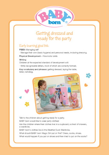 Thumbnail image for the 2021 BABY born Activity 2 Getting dressed and ready for the party activity.