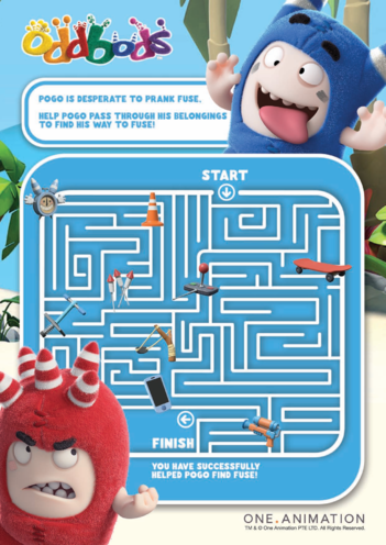 Thumbnail image for the Oddbods Maze - Pogo and Fuse activity.