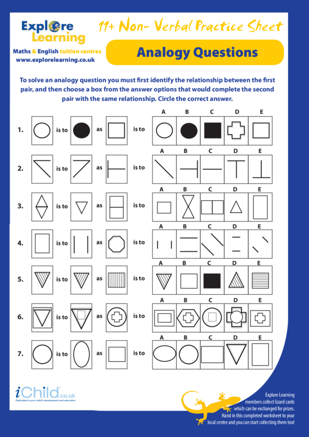 Maths: 11 Plus Practice Paper- Non Verbal Reasoning- Analogy Questions
