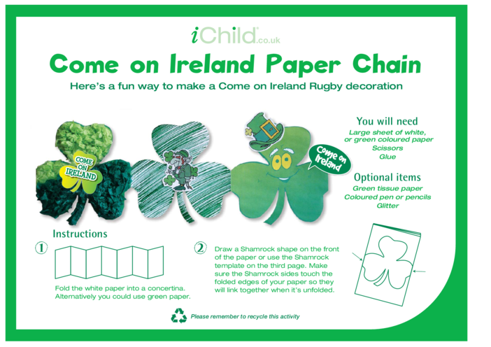 Thumbnail image for the Come on Ireland Paper Chain activity.