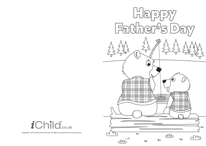 Thumbnail image for the Father's Day Card - Daddy Bear Fishing activity.