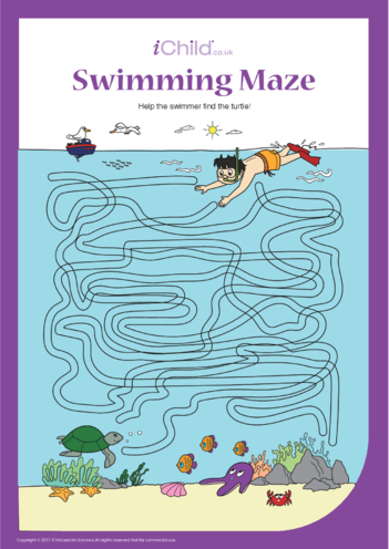 Thumbnail image for the Swimmer & Turtle Maze activity.