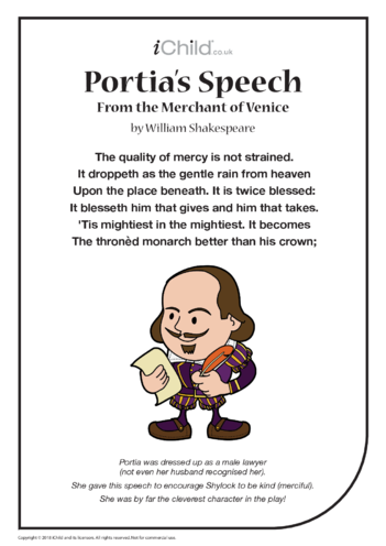 Thumbnail image for the Portia's Speech (The quality of mercy) activity.