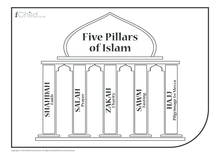 Thumbnail image for the Five Pillars of Islam (with English translation) activity.