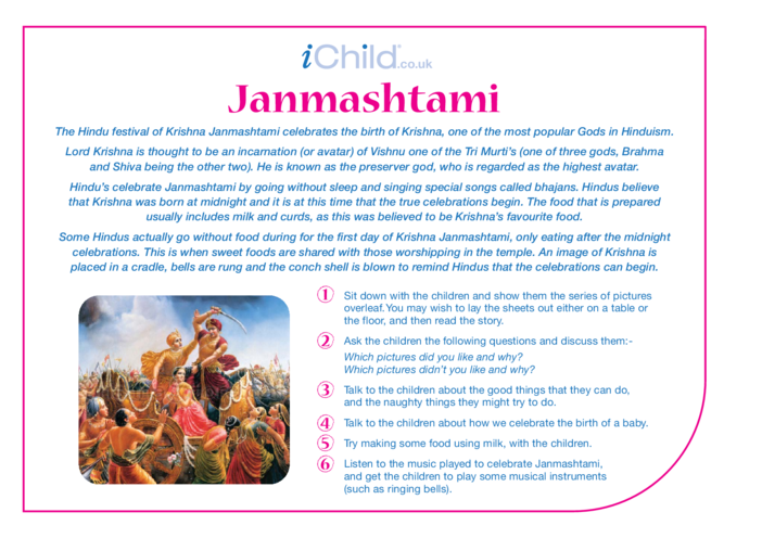 Thumbnail image for the Janmashtami Religious Festival Story activity.