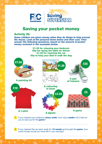 Thumbnail image for the Age 5-7 years (3b) Saving your pocket money activity.