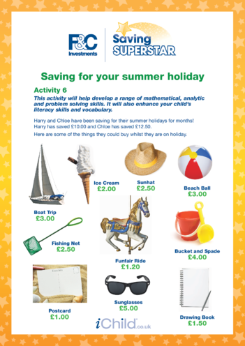 Thumbnail image for the Age 5-7 years (6) Saving for your summer holiday activity.