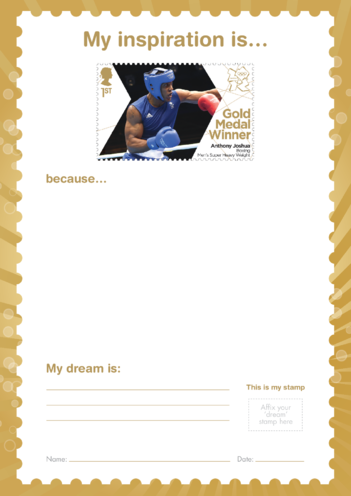 Thumbnail image for the My Inspiration Is- Anthony Joshua- Gold Medal Winner Stamp Template activity.