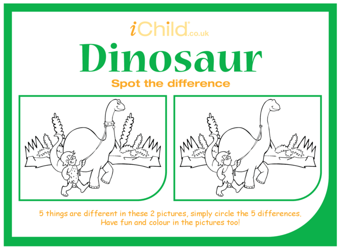 Thumbnail image for the Dinosaur Spot the Difference activity.