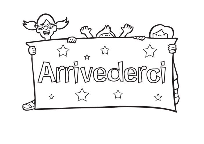 Thumbnail image for the Goodbye in Italian - Signs & Posters (black & white) activity.