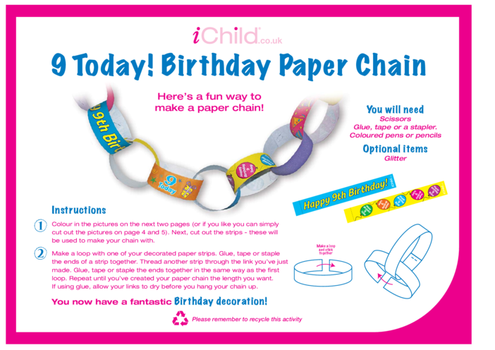 Thumbnail image for the Birthday Party Decoration Paper Chain for 9 year old 9th birthday activity.