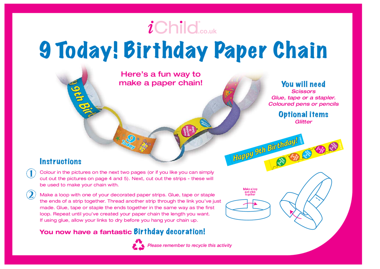 Birthday Party Decoration Paper Chain for 9 year old 9th birthday