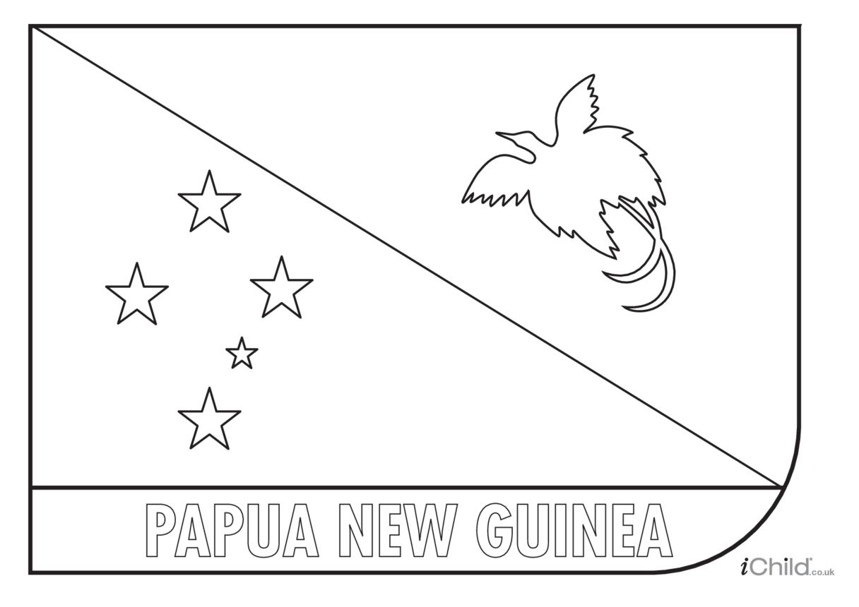 Papua New Guinea Colouring in Flag (flag of Papua New Guinea)