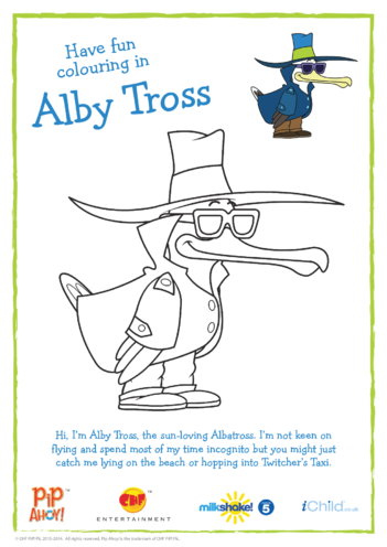 Thumbnail image for the Alby Tross Colouring In Picture Incognito (Pip Ahoy!) activity.