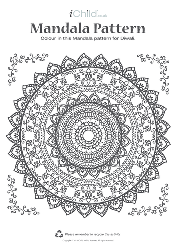 Thumbnail image for the Mandala Pattern Colouring in Picture activity.
