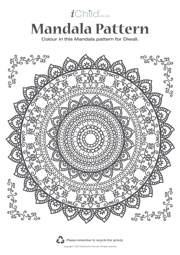 Mandala Pattern Colouring in Picture