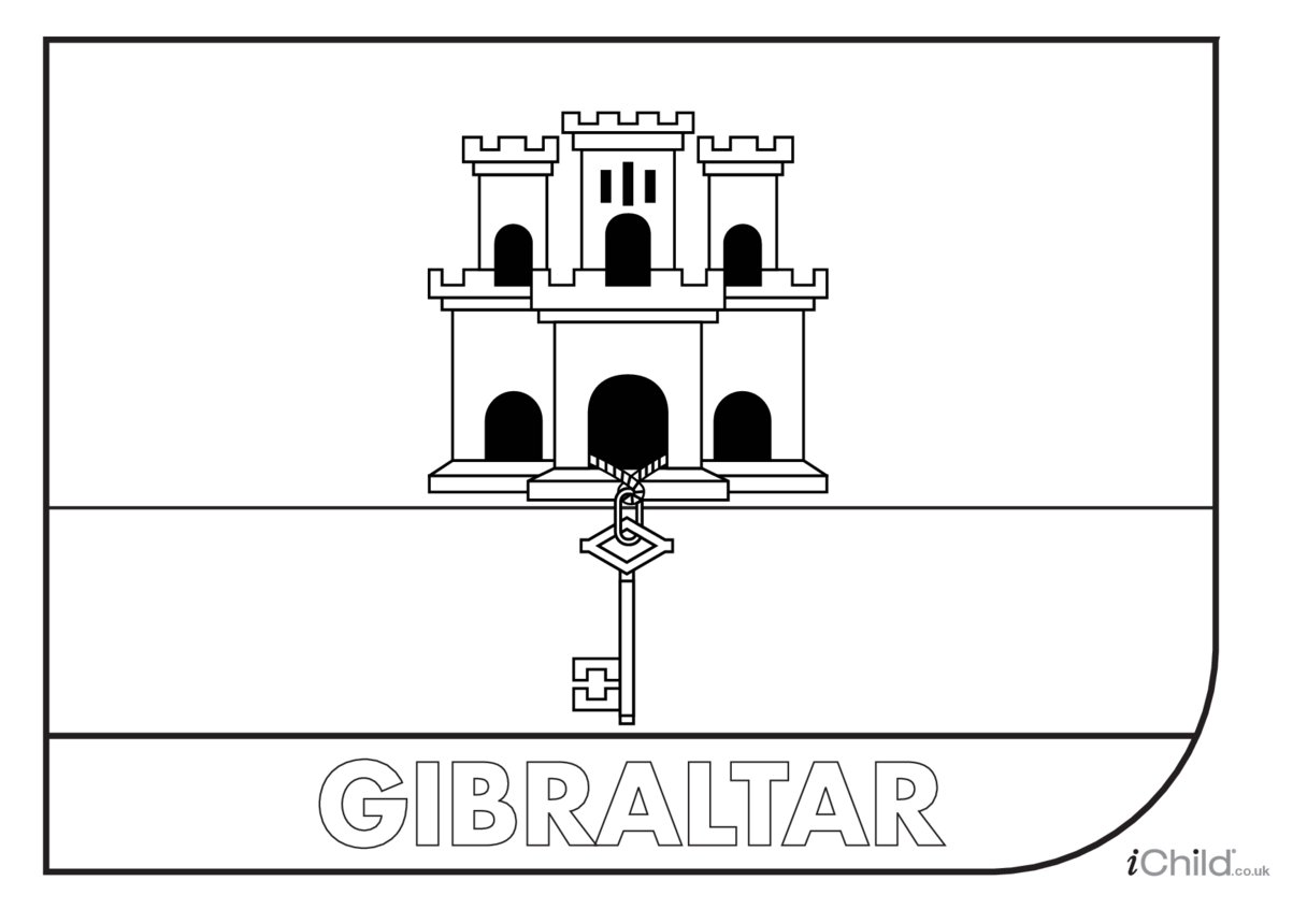 Gibraltar Flag Colouring in Picture (flag of Gibraltar)