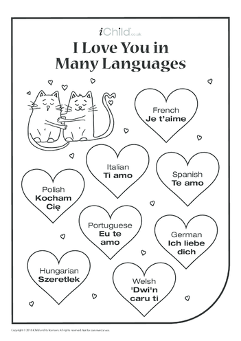 Thumbnail image for the I Love You in Many Languages Poster activity.