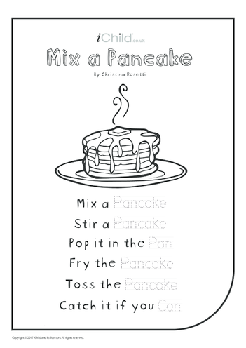 Thumbnail image for the Mix a Pancake - Poem (black and white) activity.