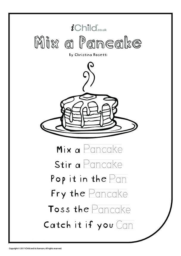 Mix a Pancake - Poem (black and white)