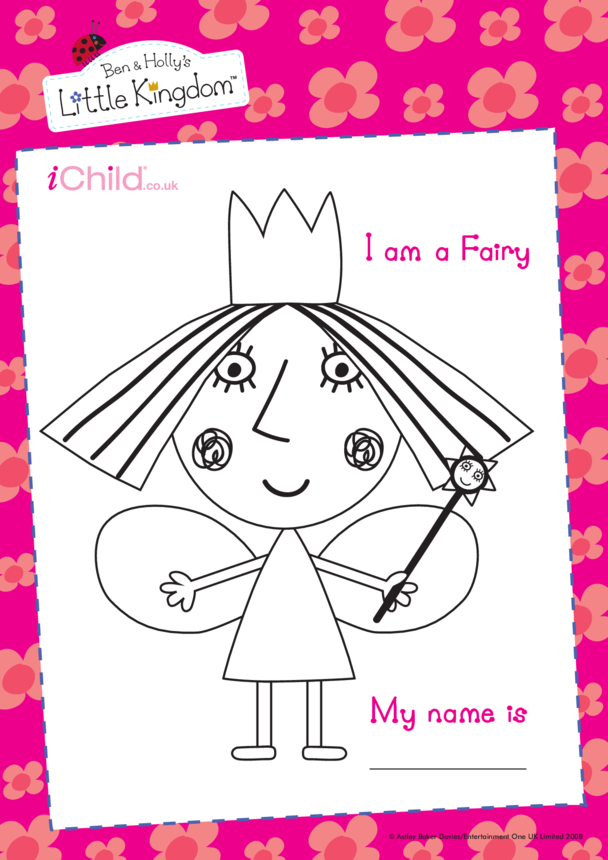 I am a Fairy: Colouring in picture