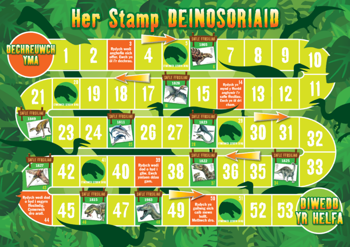 Thumbnail image for the Welsh Language Primary 5) Dinosaur Stamp Challenge- Game A3 activity.