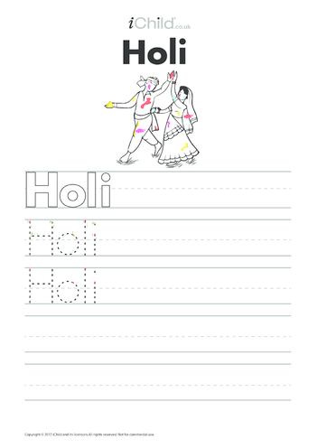 Thumbnail image for the Holi Handwriting Practice Sheet activity.