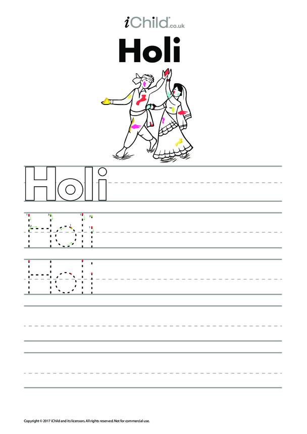 Holi Handwriting Practice Sheet