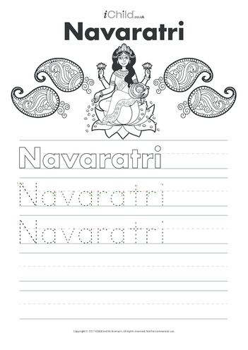 Thumbnail image for the Navaratri Handwriting Practice Sheet activity.