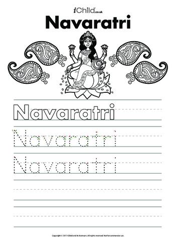 Thumbnail image for the Navaratri Handwriting Practice Sheet activity.