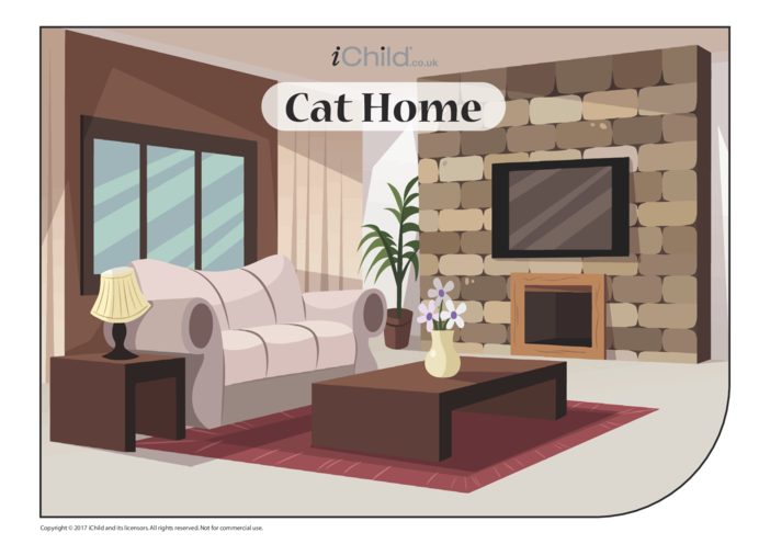 Thumbnail image for the Cat Home Sticker Scene activity.