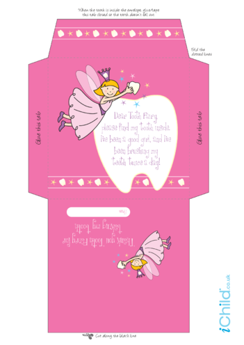 Thumbnail image for the Envelope For Tooth Fairy (Pink fairy) activity.