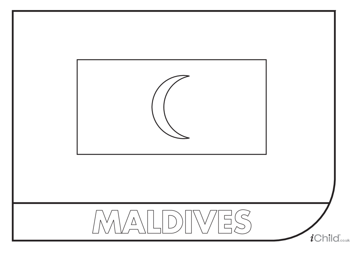 Maldives Flag Colouring in Picture (flag of the Maldives)