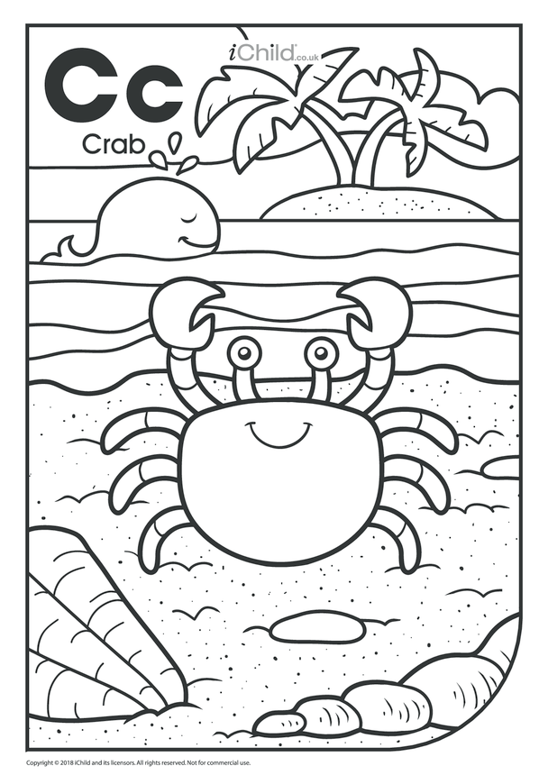 C is for Crab Colouring in Picture