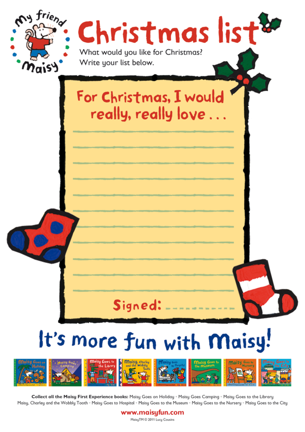 Maisy Christmas Wish List