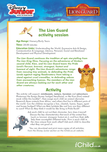 Thumbnail image for the The Lion Guard Activity Session- Disney Junior activity.