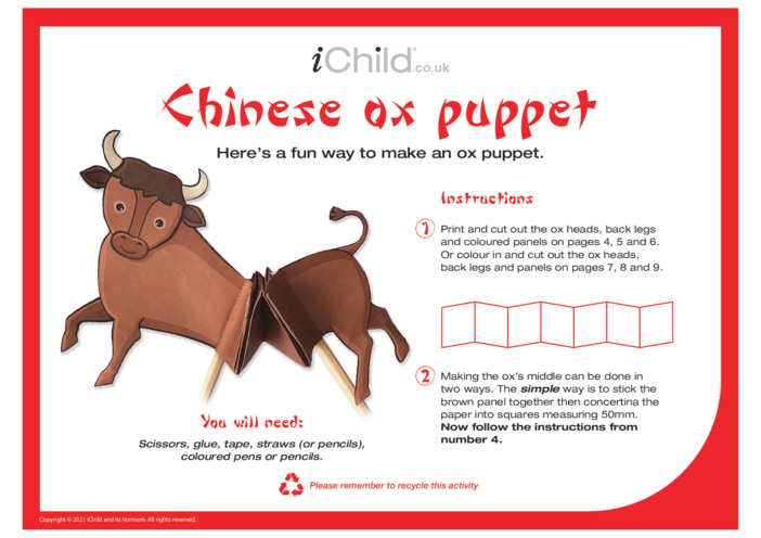 Thumbnail image for the Chinese New Year of the Ox Puppet activity.