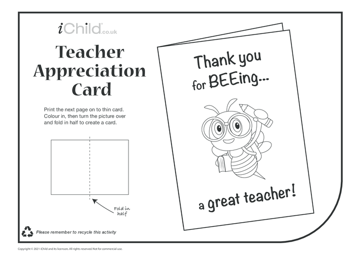Thumbnail image for the Thank you for BEEing a Great Teacher Card (black & white) activity.