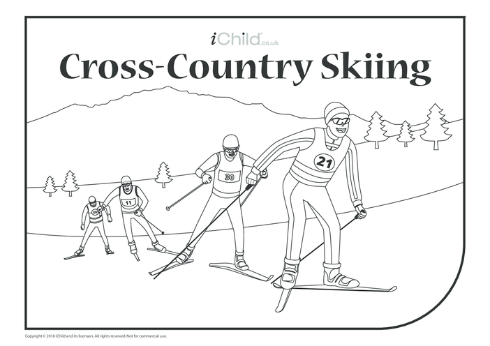 Thumbnail image for the Cross-Country Skiing Colouring in Picture activity.