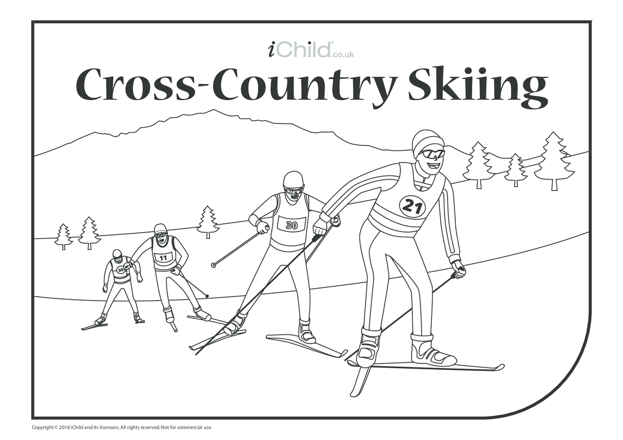 Cross-Country Skiing Colouring in Picture